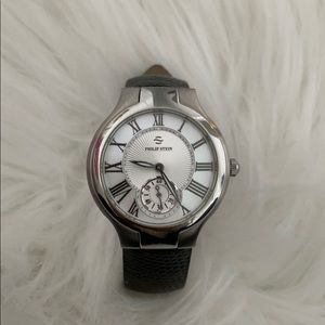 EUC Philip Stein Silver Face and Black Band Watch